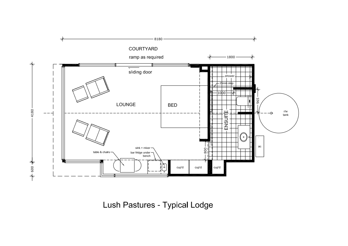 Floor plan of the lodges at Lush Pastures