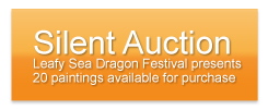 Slient auction - paintings for sale as part of the Leafy Sea Dragon Festival